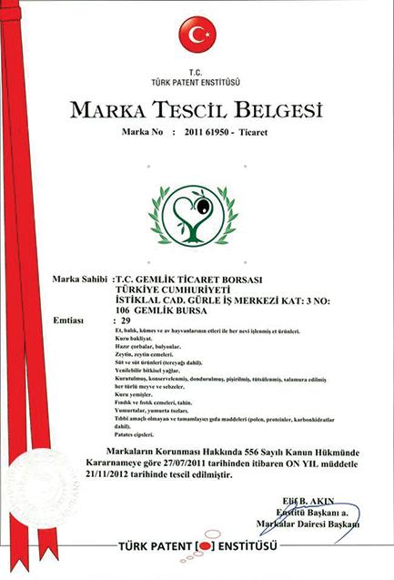 Türk Patent Enstitüsü - Gemlik Zeytini Marka Tescil Belgesii